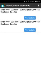 Notifications Alarmes Température smartphone thermotrack Webserve